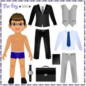 Paper doll with set of clothes — Vettoriale Stock