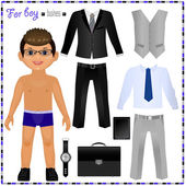 Paper doll with set of clothes — Stock Vector