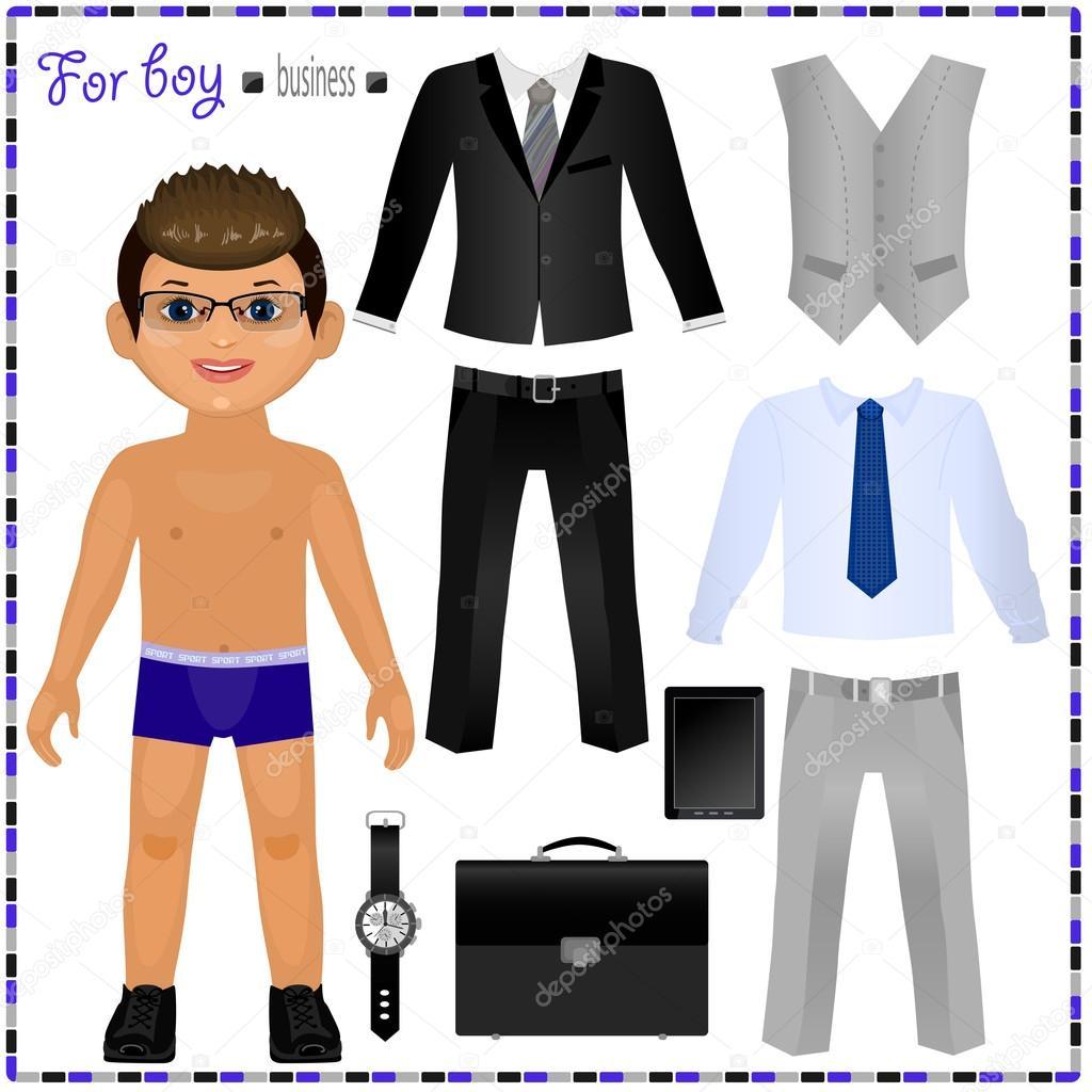 Бумажная кукла мальчик и его одежда