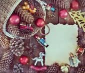 Christmas frame with Christmas decorations — Stock Photo