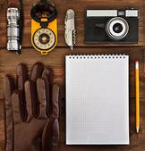 Set of items for tourists and travelers — Stock Photo