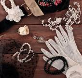 Vintage jewelery and accessories — Stock Photo