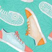 Sneakers, footprints and flowers pattern — Stock Vector
