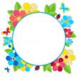 Frame with flowers, butterflies and ladybug — Stock Vector #69626917