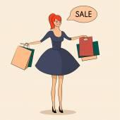 Dame mit einigen Taschen-Verkauf-Abbildung — Stockvektor