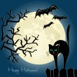 Black cat on a fence in front of the moon — Stock Vector #56049313