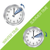 Clock showing summer and winter time — Vetor de Stock