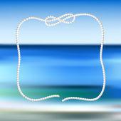 Quadro de corda branca sobre um fundo azul do mar turva — Vetor de Stock