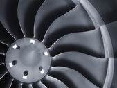 This close up image of a business aircraft jet engine inlet fan makes a great business travel or aerospace background — Stock Photo
