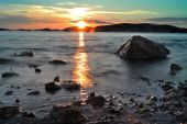 Summer sunset upon seashore — Zdjęcie stockowe