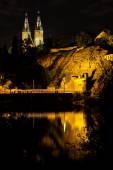 Vysehrad from river side with Basilica towers in the night, Czech Republic — Stock Photo
