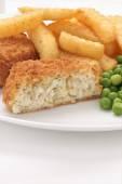 Fishcake Chips and Peas — Stock Photo