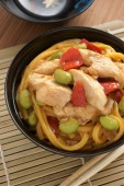 Teriyaki Chicken Noodles — 图库照片