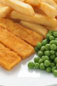 Fish Fingers Chips and Peas — Stock Photo