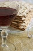 Wine and Matzo — Stock Photo