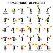 Semaphore alphabet flags on a white background — Stock Vector