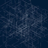 Abstract isometric computer generated 3D blueprint visualization lines background. Vector illustration for break through in technology. — Stock Vector
