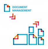 Set flat line icons on topic of document management — Stock Vector