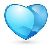 Glossy blue heart for love — Stock Vector