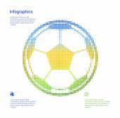 Infographics template for topic of ball Icon. — Vector de stock