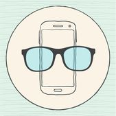 Mobile phone with mustaches and glasses — Vector de stock