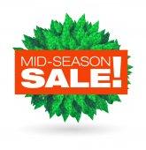 Mid-season sale typographic stickers — Stock Vector