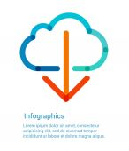 Download from the internet cloud flat line icon — Vector de stock