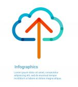 Upload to the internet cloud flat line icon — Vector de stock
