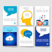 Vector brochure design templates collection. Applications and Infographic Concept. Flyer, Brochure Design Templates set. Modern flat design icons for mobile or smartphone. — Vector de stock