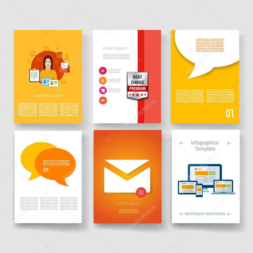 Vector brochure design templates collection Applications
