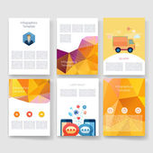 Flyer, Brochure Design Templates set. Geometric Triangular Abstract Modern Backgrounds. Mobile Technologies, Applications and Infographic Concept. — Stock Vector