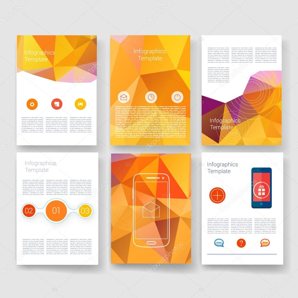 infographic brochure template - vector brochure design templates collection applications