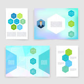 Templates. Vector brochure design collection. Applications and Infographic Concept. Flyer, Brochure Design Templates set. Modern flat design icons for mobile or smartphone on a light background. — Stockvektor