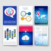 Modelli. Collezione di Vector brochure design. Applicazioni e concetto Infographic. Flyer, Brochure Design modelli impostati. Icone di moderno design piatto per cellulari o smartphone su sfondo chiaro. — Vettoriale Stock