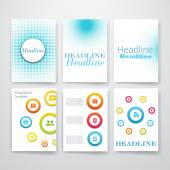 Templates. Set of Flyer, Brochure Design Templates. Mobile Technologies, Applications and Infographic Concept. Modern flat design icons for mobile or smartphone on a light background. — Stock Vector