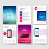 Templates. Design Set of Web, Mail, Brochures. Mobile, Technology, Infographic Concept. Modern flat and line icons. App UI interface mockup. Web ux design. — Stockvektor