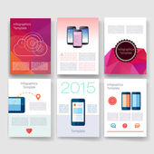 Templates. Design Set of Web, Mail, Brochures. Mobile, Technology, Infographic Concept. Modern flat and line icons. App UI interface mockup. Web ux design. — Stock Vector