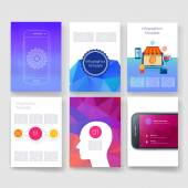 Templates. Design Set of Web, Mail, Brochures. Mobile, Technology, Infographic Concept. Modern flat and line icons. App UI interface mockup. Web ux design. — Vector de stock