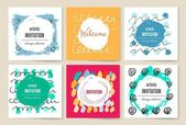 Modern cards design template with grungy rough colorful brush strokes — Wektor stockowy