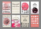Modern cards design template with grungy rough colorful brush strokes — ストックベクタ