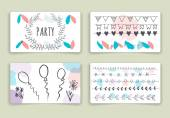 Hand drawn brush strokes card templates set — Stockvektor