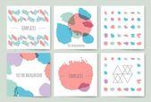 Hand drawn brush strokes card templates set — Stock Vector