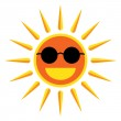 Sun smile with sunglasses on white background. Vector Illustrati — Stock Vector #55745539