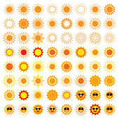 64 Sun Icons on white background — Stock Vector