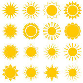 Sun icon set on white background — Stock Vector
