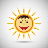 Smile sun on white background — Stock Vector