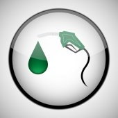 Green Fuel nozzle with drop in circle frame. Icon concept — Stock Vector
