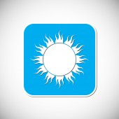 Sun Icon. Blue Square Frame. Vector Illustration — Stock Vector