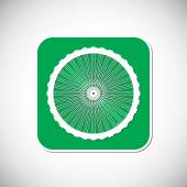 велосипедный символ колеса. зеленая квадратная рамка. векторная иллюстрация — Cтоковый вектор