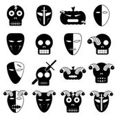 Halloween mask icon set. Vector Illustration — Stock Vector